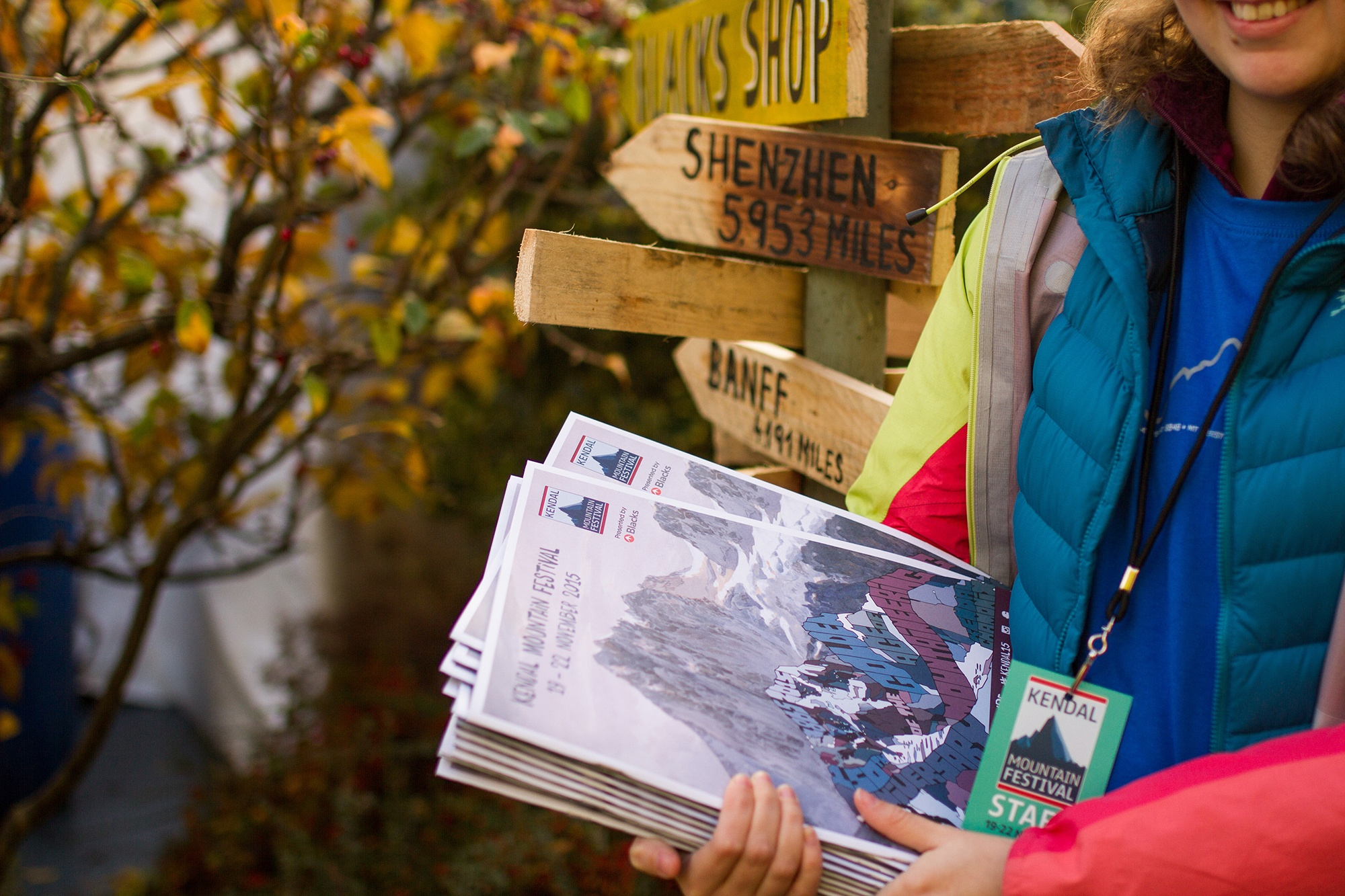 Brochures at Kendal Mountain Festival. Photography by Jessie Leong