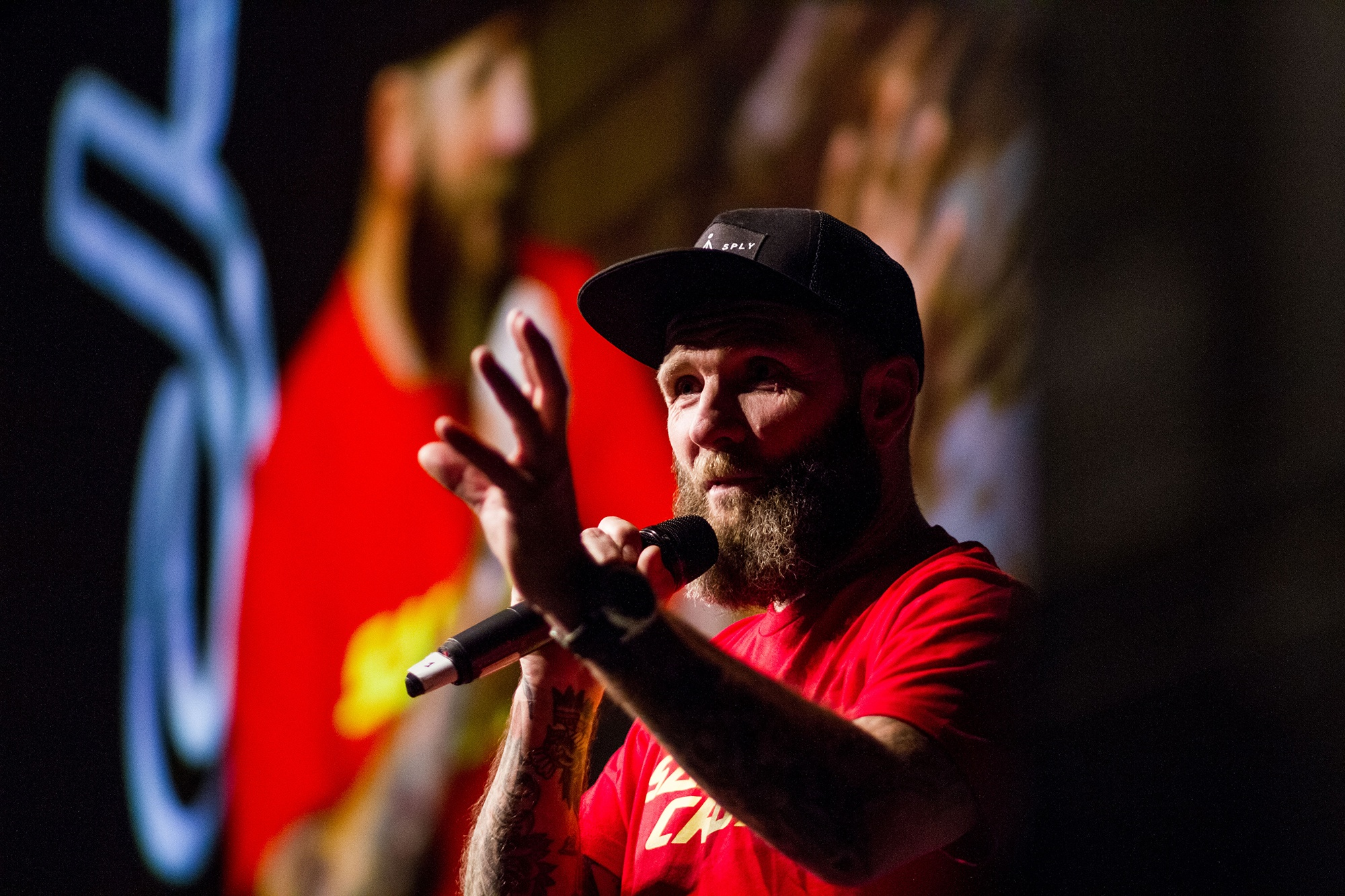 Ed Oxley at Bike Night at Kendal Mountain Festival by Jessie Leong