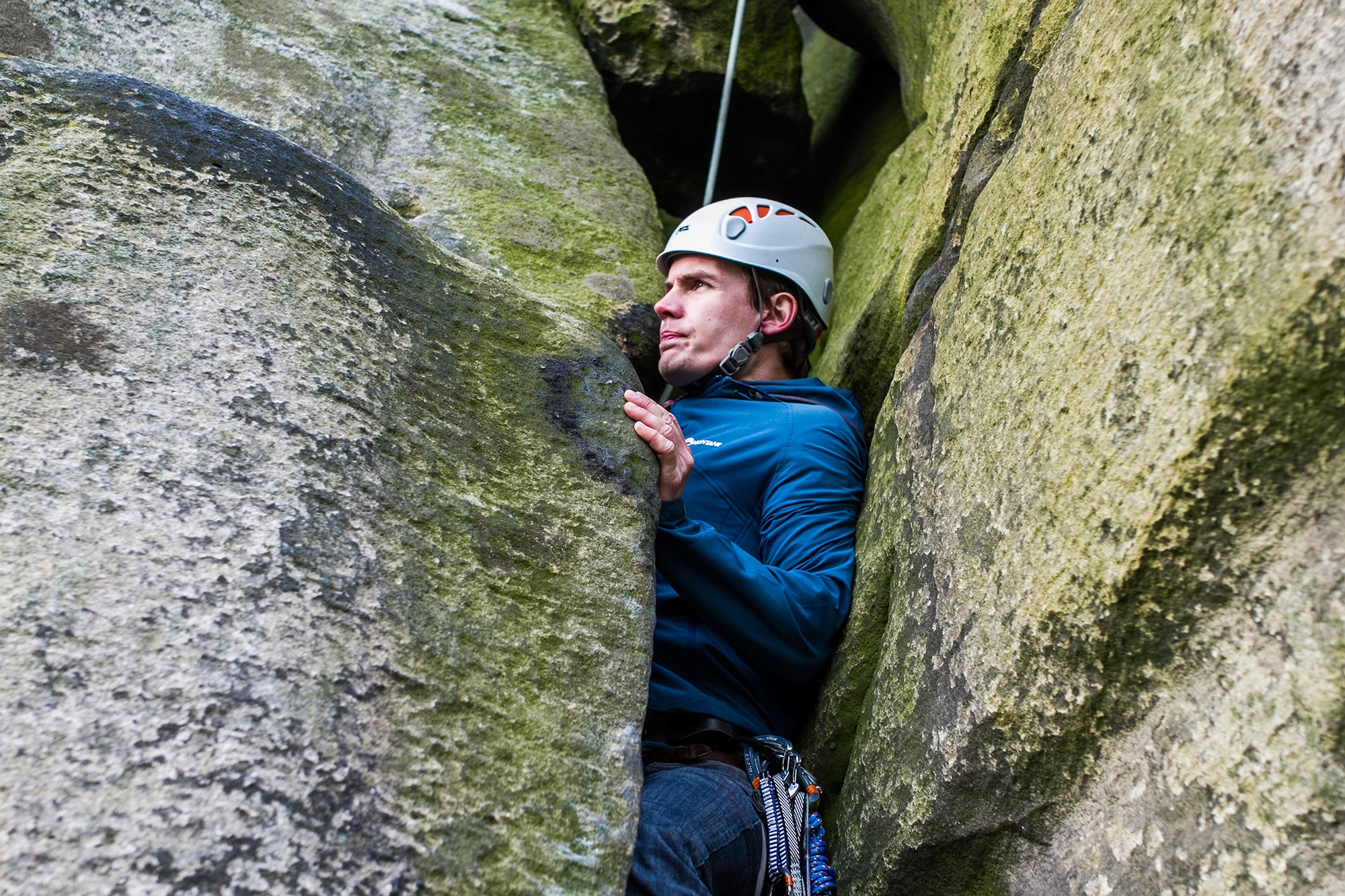 Rich Pooley on Black Wall, Almscliffe. Photographed by Jessie Leong