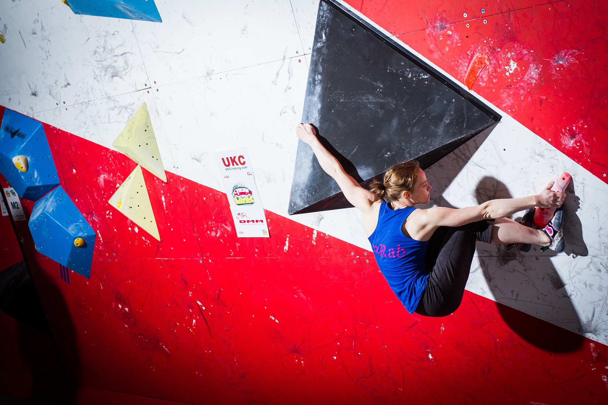 A climber attempts the bouldering at the British Bouldering Championships