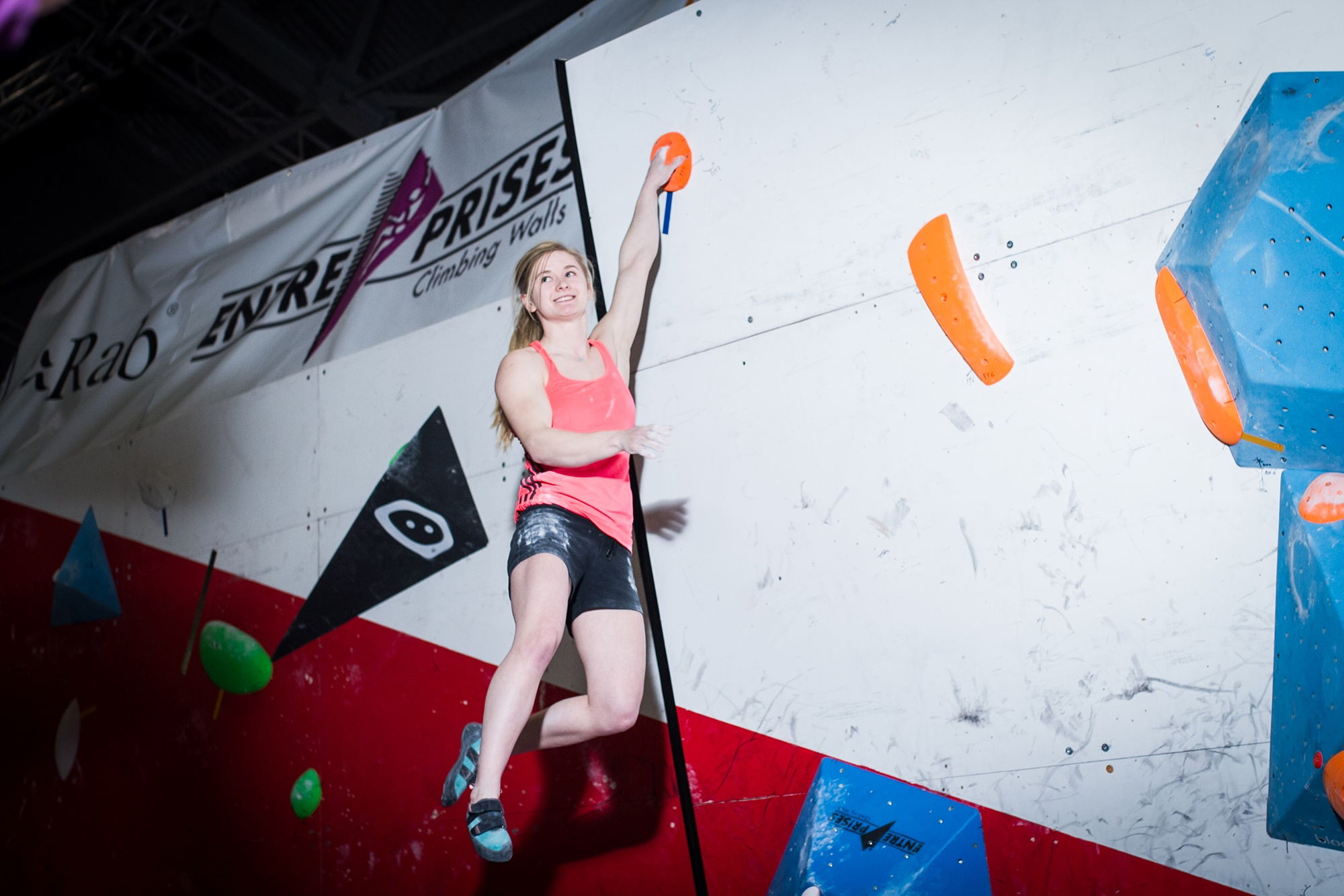 Shauna Coxsey completes the problem, at the British Bouldering Competition