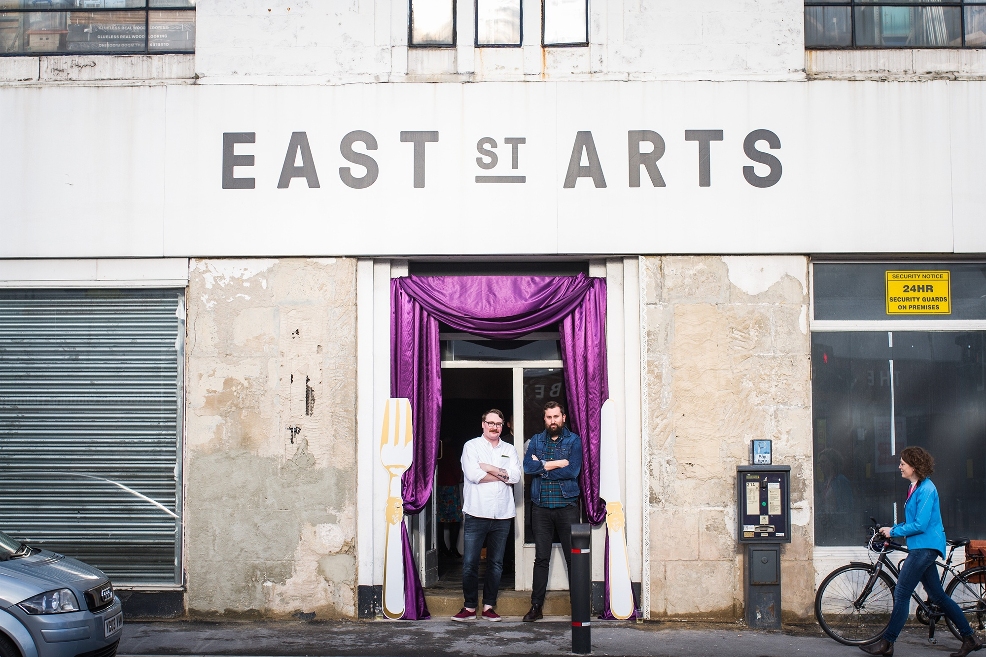 Simon Fogal and Matt , Directors of Leeds Indie Food Festival, outside East St Arts