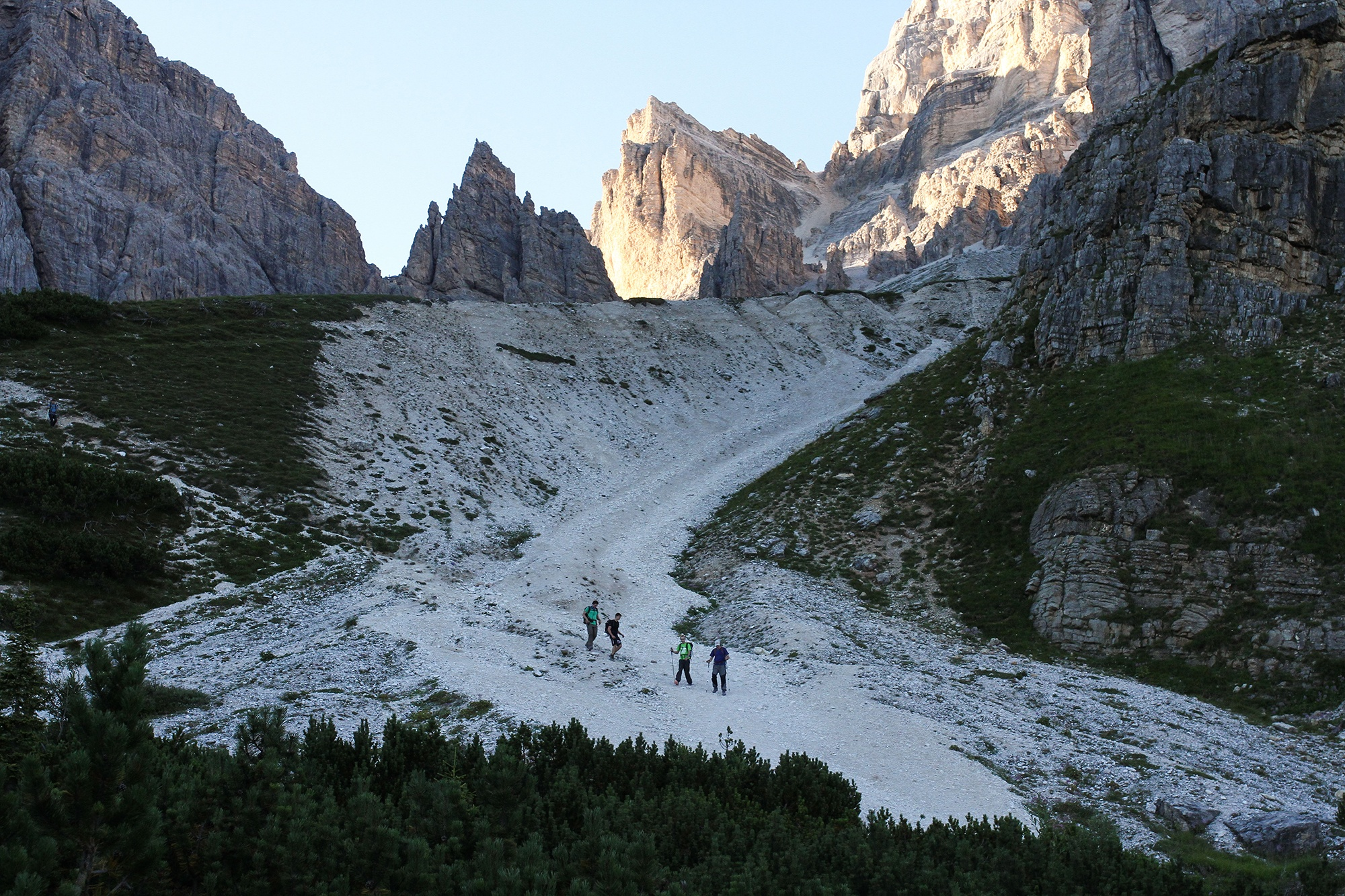 Walking down from Tofana di Rozes, The Dolomites