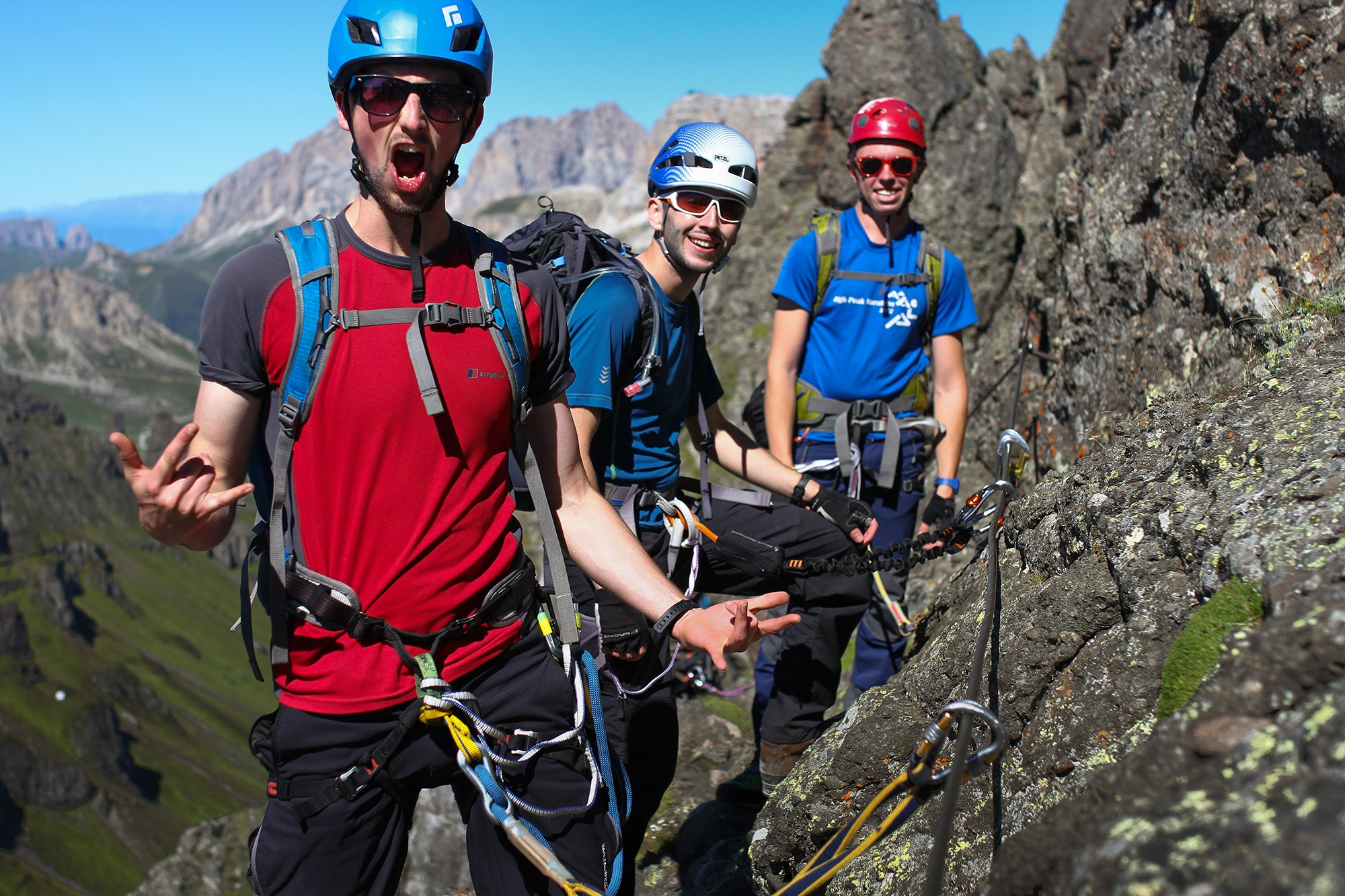 Photograph of Mike Daniels, Joe Daly and Roy Middup on a Via Ferrata route in The Dolomites