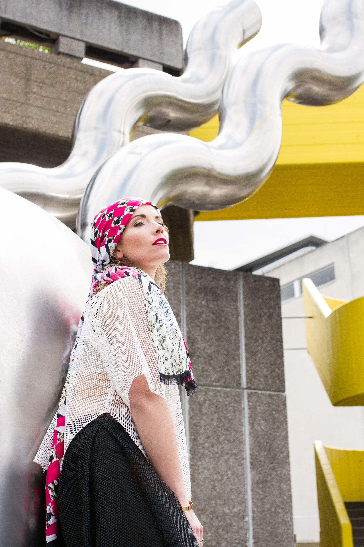Model mid shot wearing headscarf at Southbank