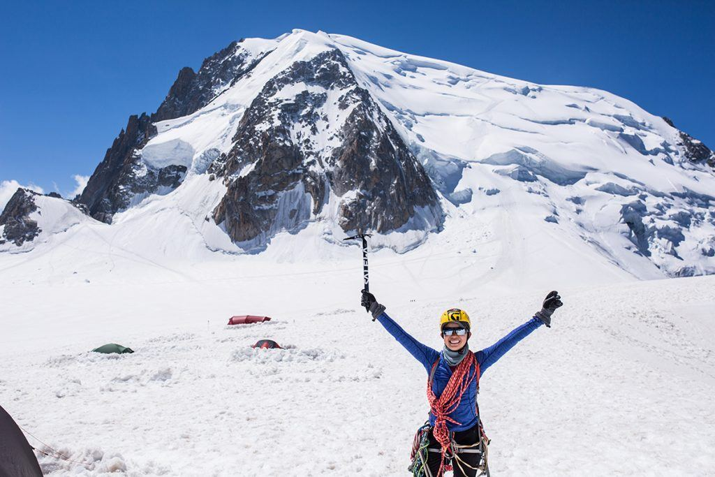 Waving my arms in the air on the Vallee Blanche, Mont Blanc du tacul in the background