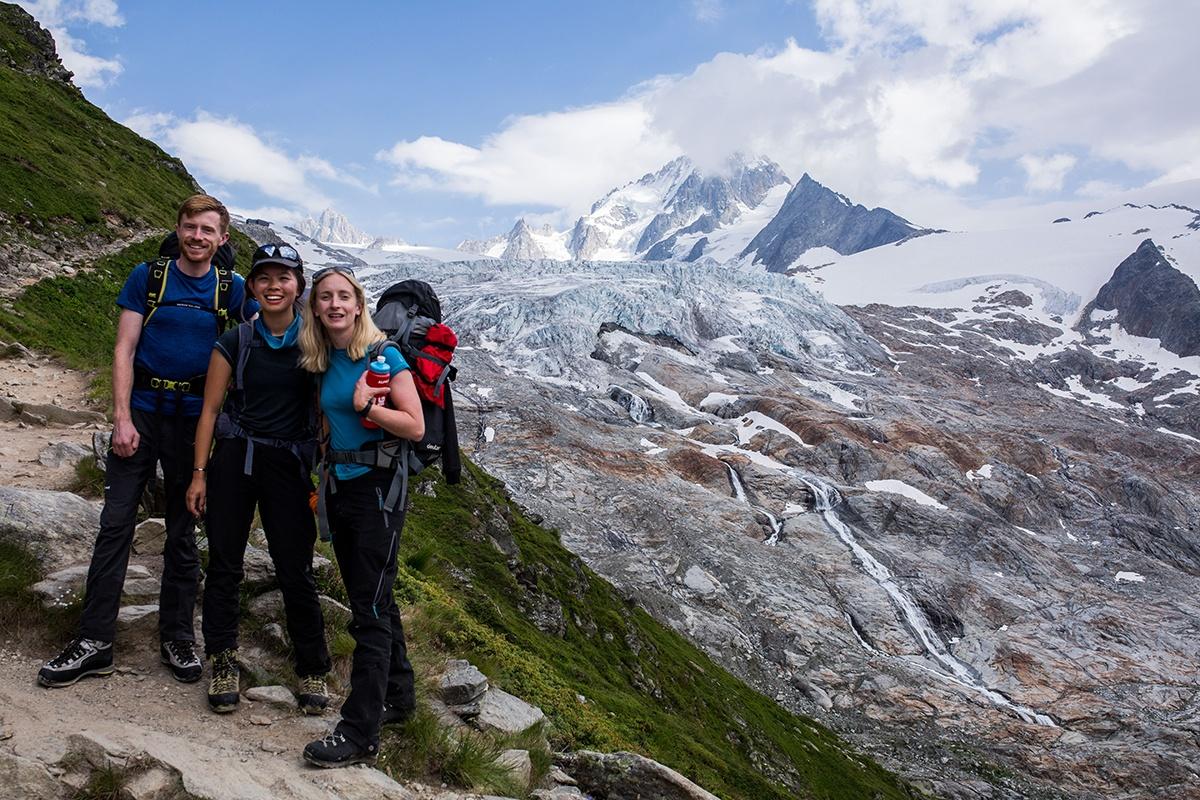 Group photographs by the base of Le Tour glacier