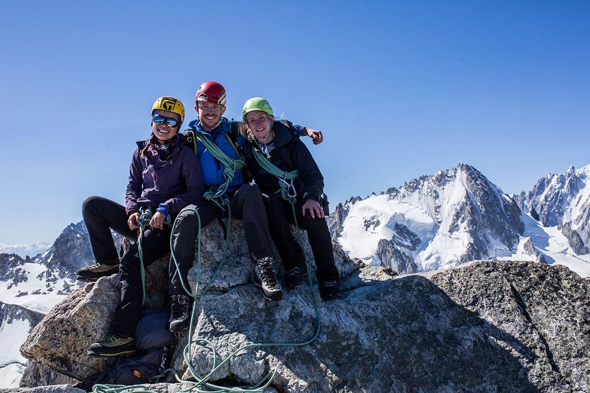 Sat on Aiguille de Tour, 3540m high against a blue sky